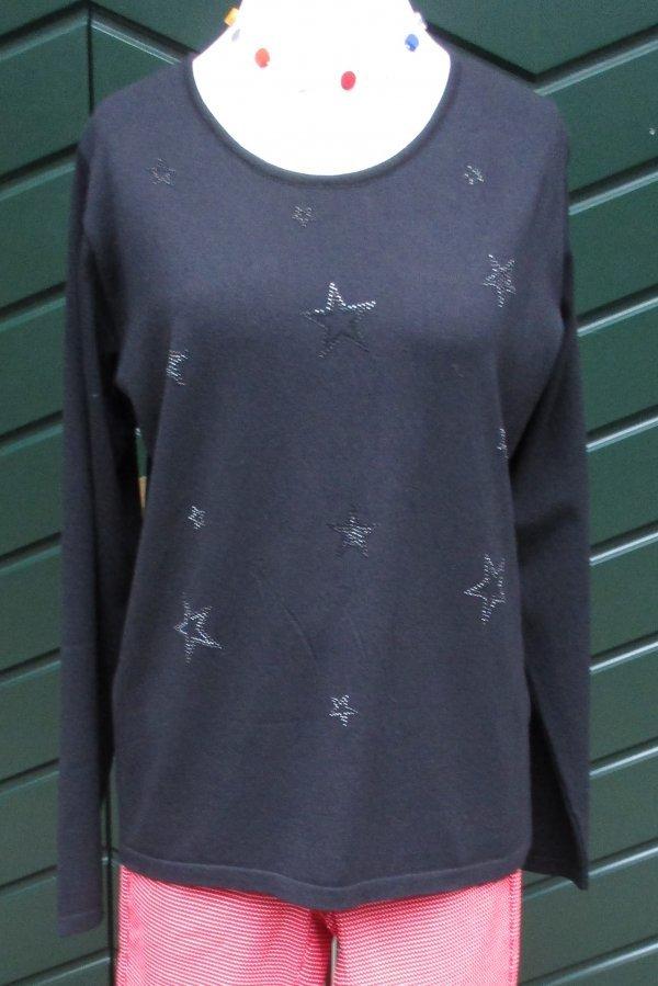 Leichter Viscose-Strick-Pullover, mit dezenten Glitzersternen
