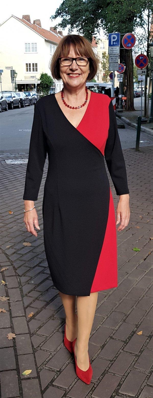 Kleid Batida, Wickeloptik rot-schwarz