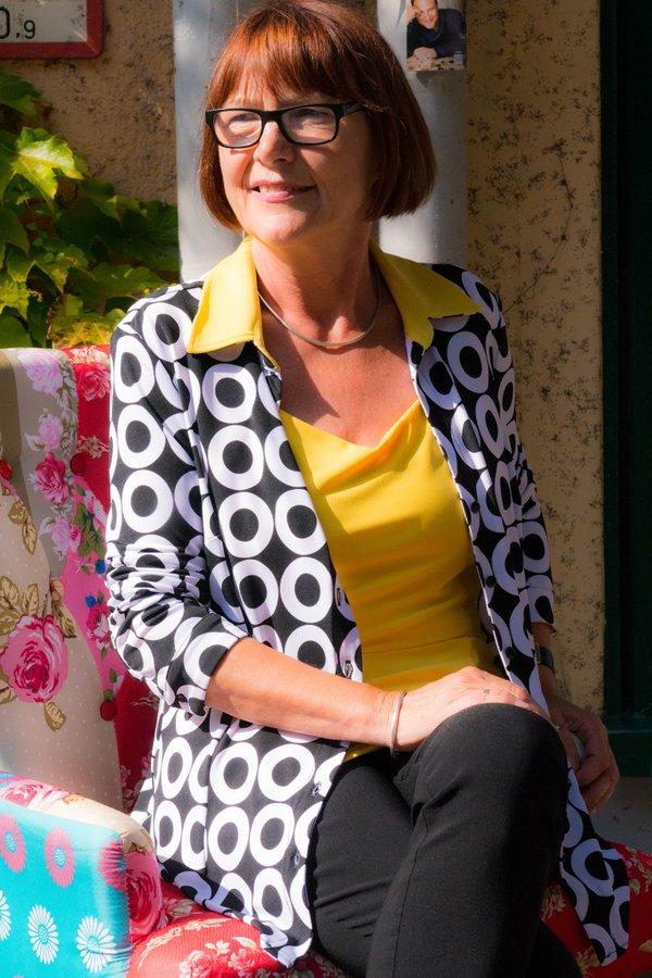 Bluse / Jacke im Retro-Style schwarz/weiß mit gelbem Kragen. Marke Joseph Ribkoff