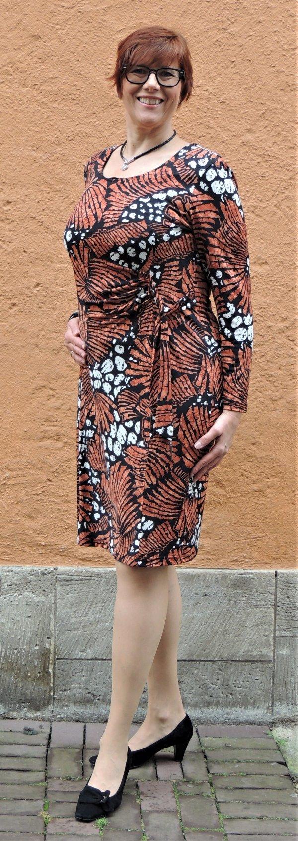 Kleid Batida, Raffung, Animal-Print